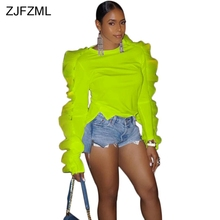 ZJFZML Plus Size Sexy Top and Blouse Women Butterfly Long Sleeve Slim Fit Shirt Autumn Solid Ruffle Front Short Back Long Blouse drawstring front ruffle plaid blouse