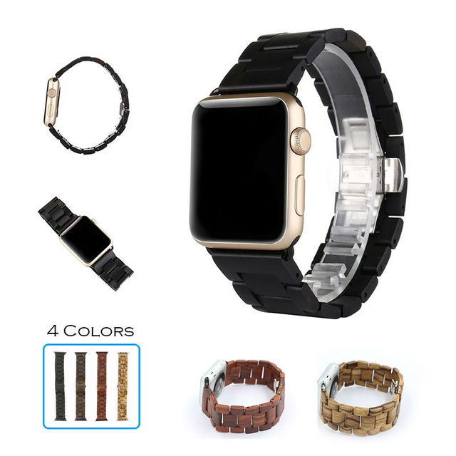 URVOI band for apple watch series 2 strap wooden strap for iwatch modern design ebony Walnut bracelet with butterfly clasp 42mm