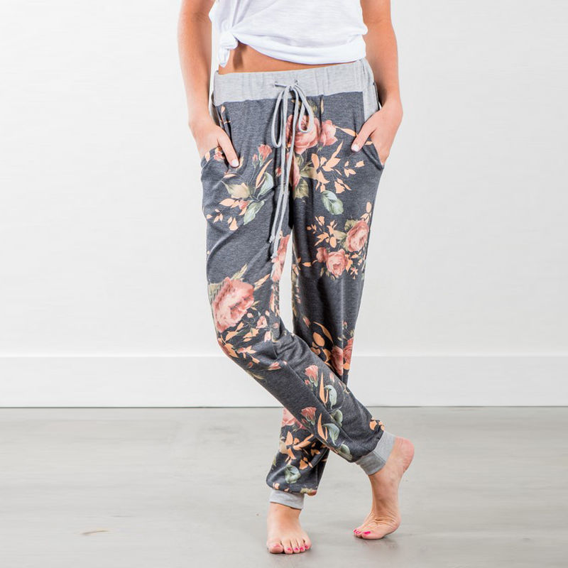 2019 Ladies Floral Print   Wide     Leg     Pants   Casual Loose Drawstring Bandage Long   Pants   Trousers For Women