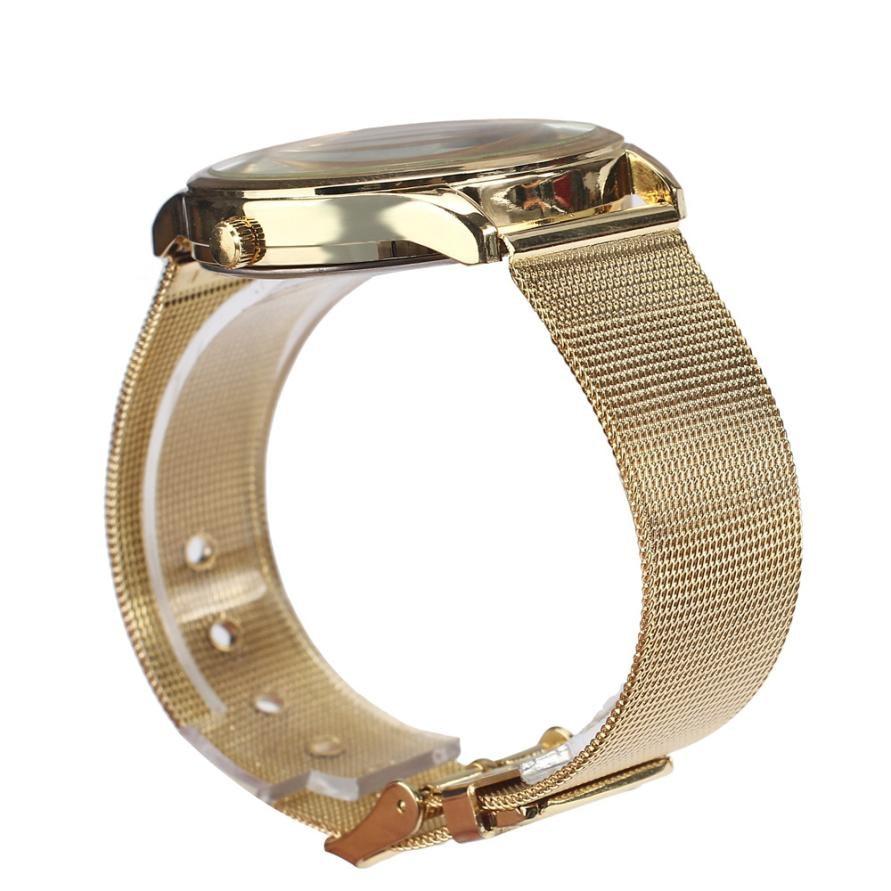 Üstün Yeni Moda Klasik Altın Kuvars Paslanmaz Çelik Bilek İzle - Kadın Saatler - Fotoğraf 4
