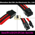 "12"" Premium Sleeved UL 1007 18AWG GPU 8 Pin to 6+2 Pin PCI-E Power Extension Cable - Black & Red"