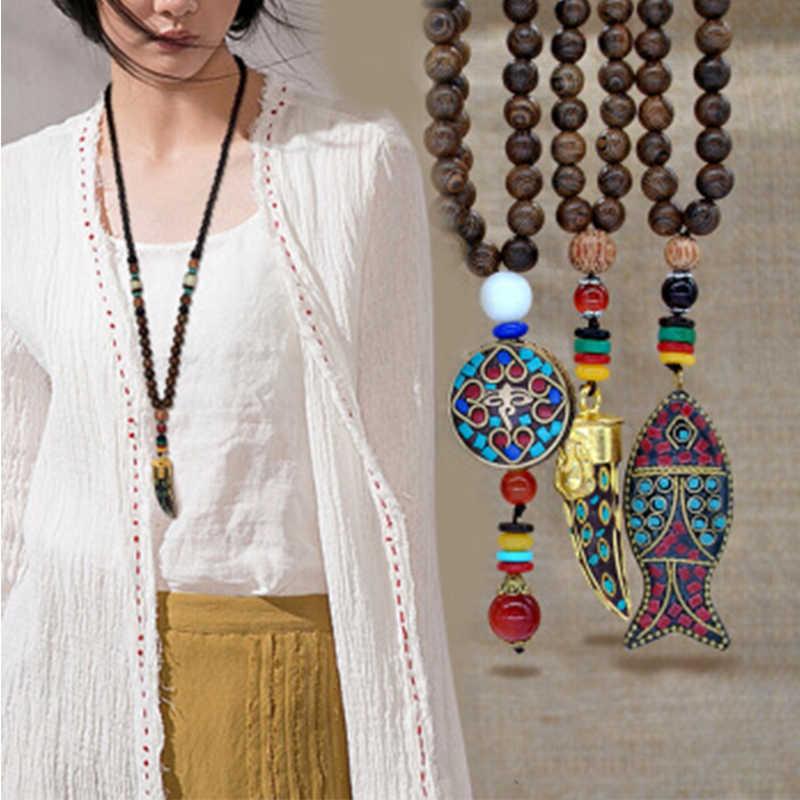 Qilmily Retro ไม้ Lotus พระพุทธรูปจี้สร้อยคอผู้หญิงเนปาล Mantra ไม้/แก้วลูกปัด Chain ของขวัญ