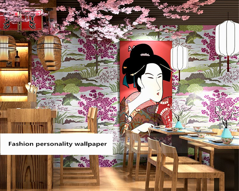 beibehang Beautiful environmentally friendly Japanese personalized sushi restaurant background stereo papel de parede wallpaper in Wallpapers from Home Improvement