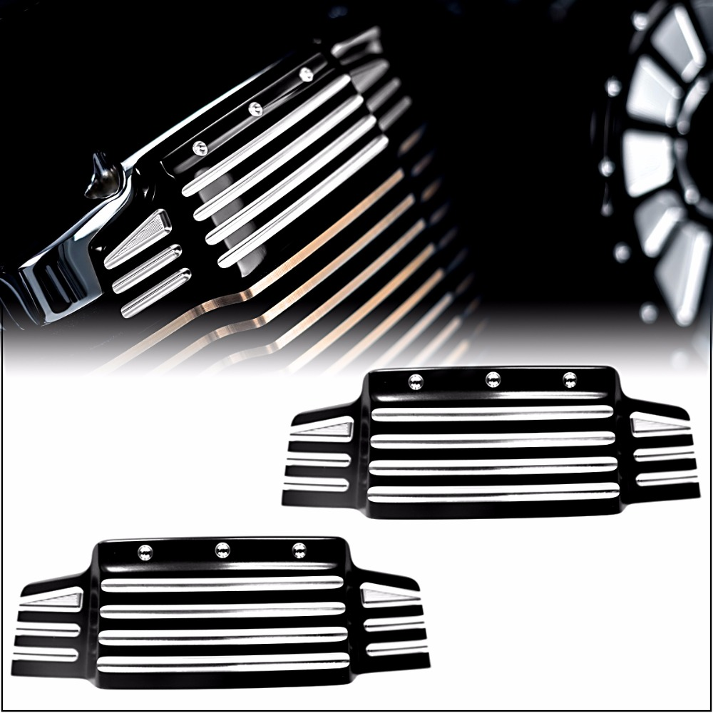 Black Shallow Cut Valve Cover Accents For Victory 2006-2017 Cross Country Kingpin Vision Vegas Models motorcycle silver for victory cross roads custom cross countr kingpin vegas brake clutch lever set