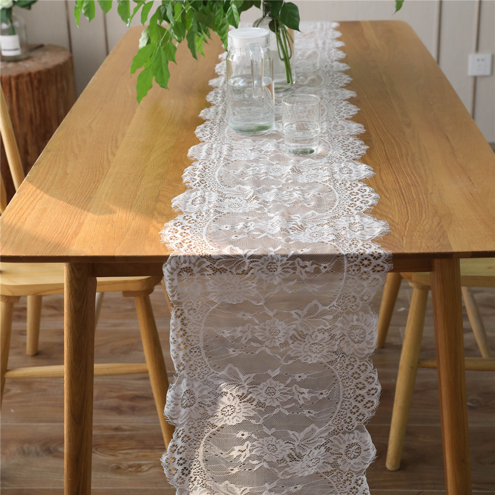 35X300CM Wedding Table Runner White Lace Table Runner Floral Table Cloth Boho Wedding Birthday Party Table Decor Home Textile