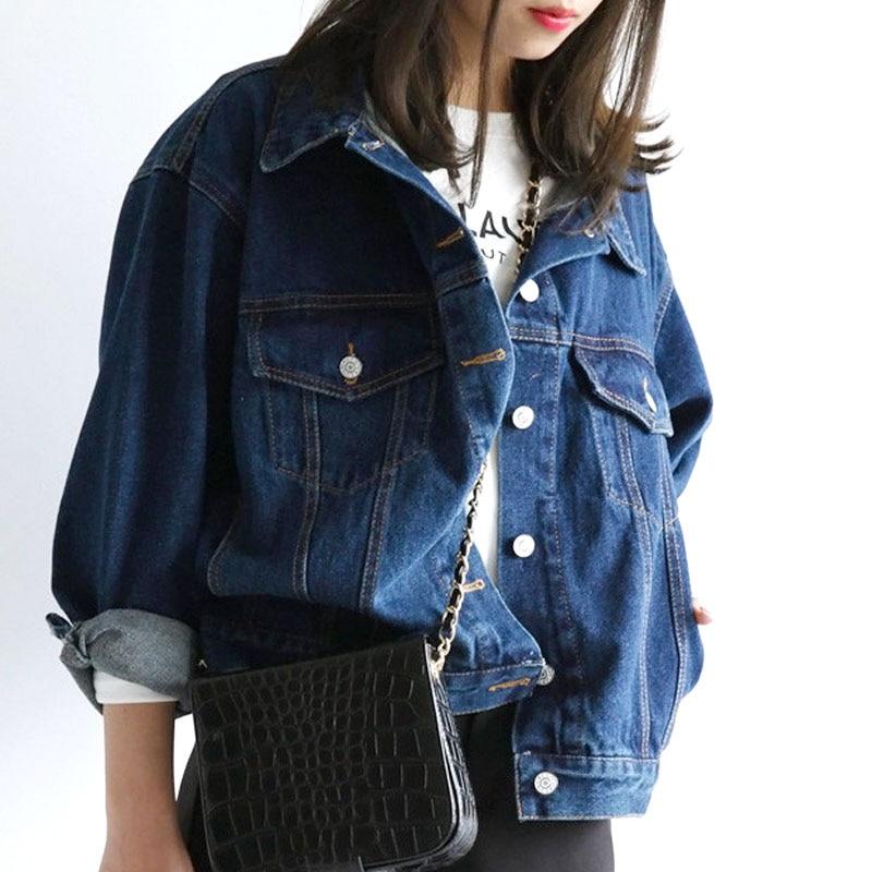 Women Denim Jacket Long Sleeve Lace <font><b>Jeans</b></font> Jackets Ladies Oversized <font><b>Jean</b></font> Coat Female Outwear Abrigos Mujer jaqueta feminina