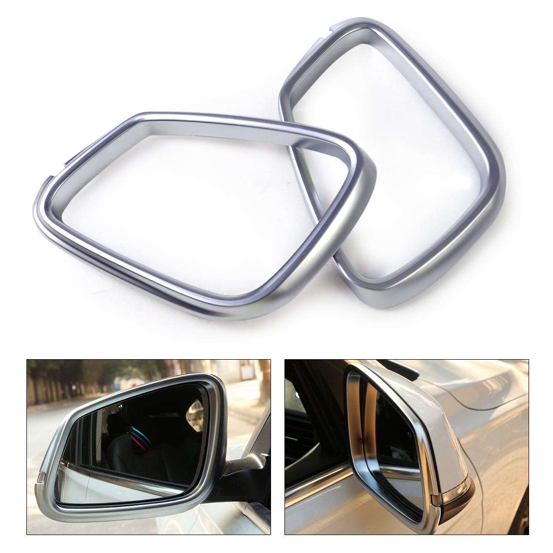 DWCX 2Pcs Chrome Left Right Side Door Rearview Reflector Mirror Protector Frame Cover Trim for BMW 2 Series 218i 2014-2016 2pcs left
