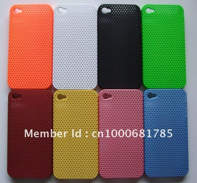 16pcs Wholesale For for iPhone 4 4G Cases 8 Colors Net Design Hard Back Cover/Cases, Best Quality, Free Shipping