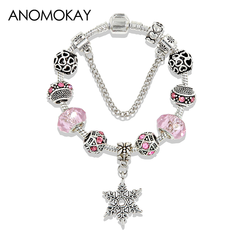 New Silver Color Snowflake Pendant Charm Pandora Bracelet Pink Crystal Heart Women Bead Bracelet Bangle Diy Jewelry Accesories