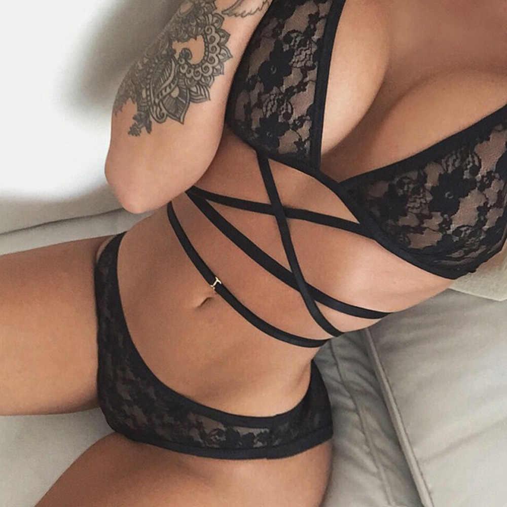 1 adet kadın seksi kadın dantel pijama Halter İç çamaşırı iç çamaşırı-strin siyah seksi iç çamaşırı sıcak