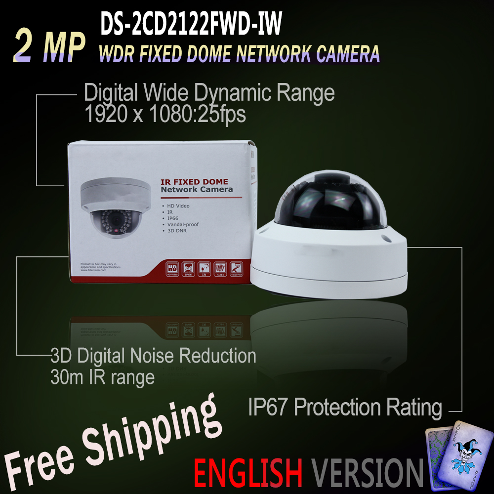 Free Shipping DS-2CD2122FWD-IWS Original English Version IP housing 2MP WDR Fixed Dome Network Camera POE security 30m IR free shipping in stock new arrival english version ds 2cd2142fwd iws 4mp wdr fixed dome with wifi network camera