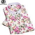 Новый 2017 Европейский Цветок Печати Сорочки для Мужчин Мода Летом С Коротким рукавом мужская Марка Рубашки Бизнес Формальный Рубашка 4XL MC228