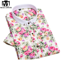 New 2017 European Flower Print Men Shirts Fashion Summer Short-sleeve Men's Brand Shirt Business Formal Dress Shirt  4XL MC228