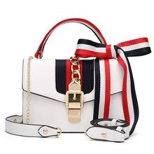 Retro PU Leather Purse Crossbody Handbag Chain Ribbon Satchel Shoulder Sling Women Bag
