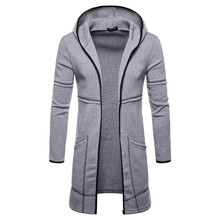 Loldeal Men Autumn Winter Hooded Trench Coat Knitted Open Front  Cardigan casual Hoodies & Sweatshirts Hooded open front sennit design hooded cardigan
