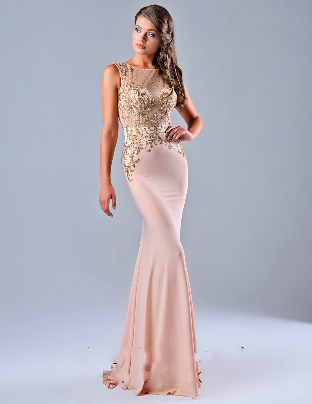 Adoration Peach Color Prom Evening Dress Beteau Neck Sheer Open Back ...