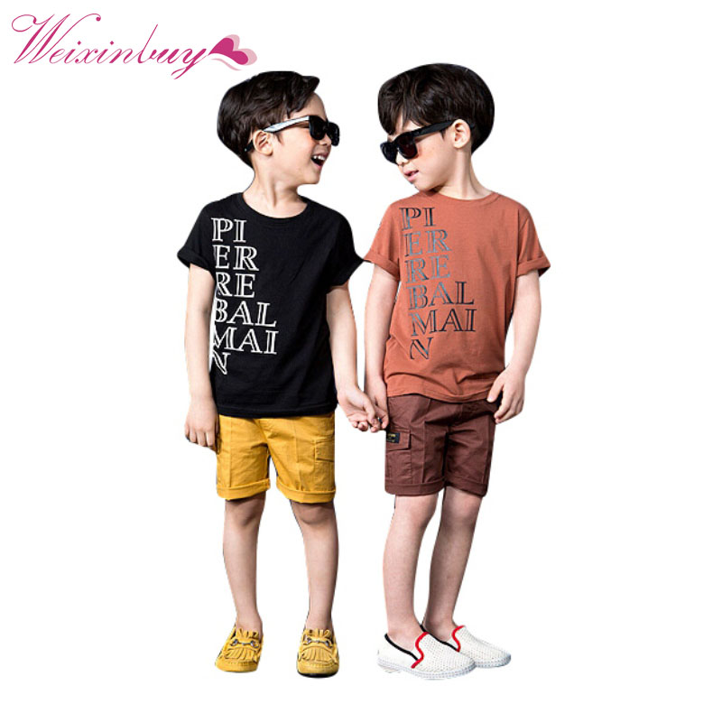 WEIXINBUY 2017 New Children Clothes Boys Girls Unisex T Shirt Cartoon Kids Short Sleeve T-shirts 7 Styles