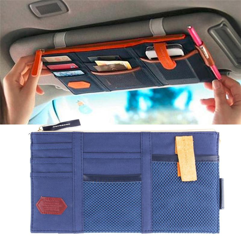Car Sun Visor Organizer Pouch Bag Card Storage CD Card Holder Multi Pocket