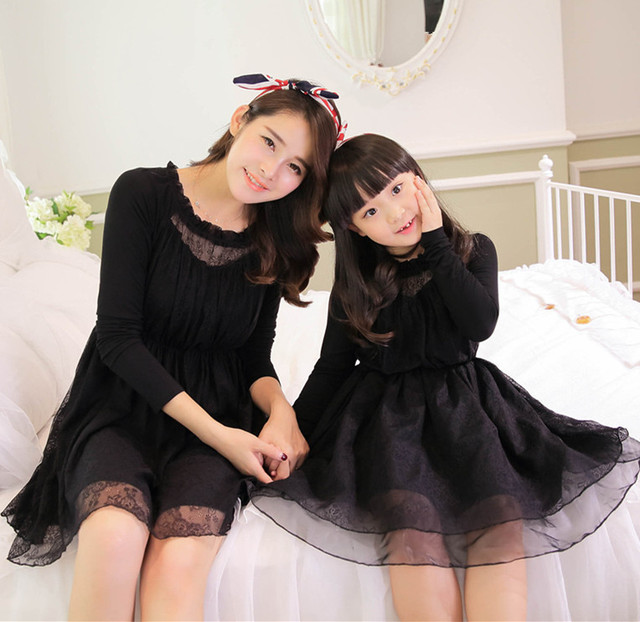 2015 mom and daughter dress matching mother daughter clothes dresses girl princess party dress women robe family look clothing