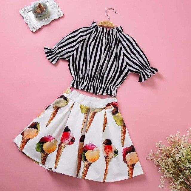 Pettigirl Mùa Hè Trẻ Em Trang Phục cho Bé Gái Công Chúa Colthing Đặt Sọc Top + Hoa Váy Kid Quần Áo Cho Cô Gái G-DMCS005-111