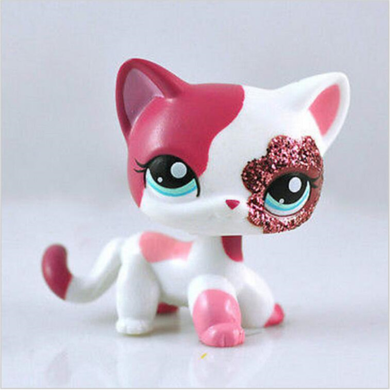 Pet shop Sparkle Eyes White Red Short Hair kitty action figure girl's Collection classic animal pet LPS toys European шапка kusto steam short red white