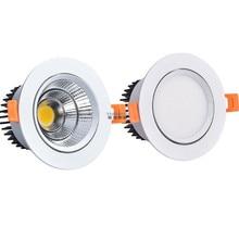 Dimmable светодиодный COB Точечный светильник потолочный светильник AC85-265V 3 Вт 5 Вт 7 Вт 9 Вт 12 Вт 15 Вт алюминиевый встраиваемый светильник s круглый светодиодный панельный светильник