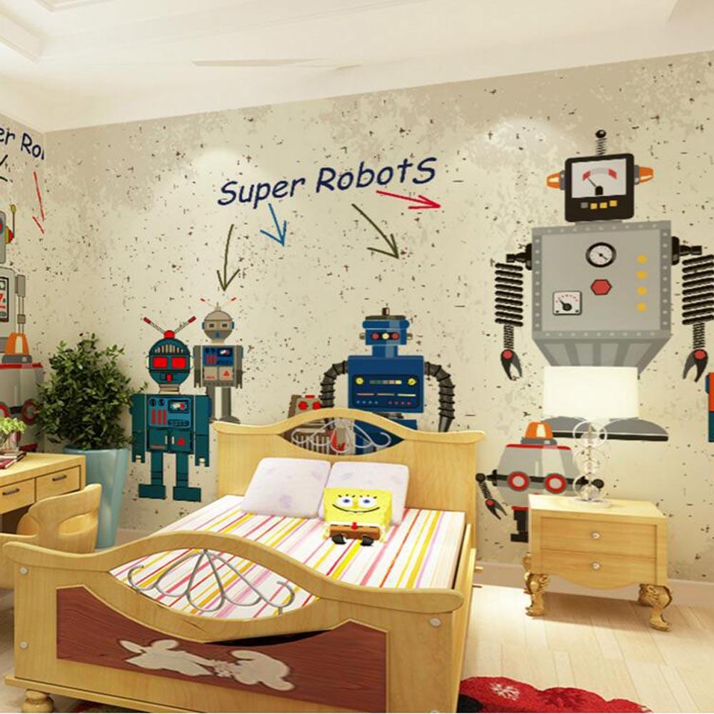 цена  Kids Bedroom Robot Photo Wallpaper 3D Murals Wall Paper for Living Room Wall Art Decor Bedroom Mural Floral papel pintado  онлайн в 2017 году
