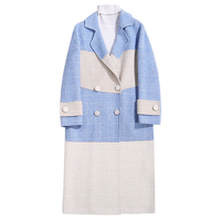 Winter Women Long Wool coat Fashion Blue White Plaid Double Breasted Wool blends Coats Female Casual Outerwear Plus size 3XL 517
