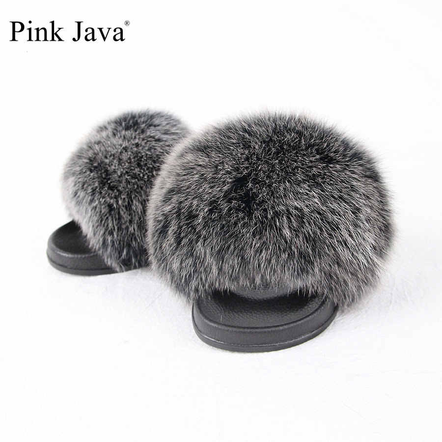 a3016e7058871 ... pink java NEW ARRIVA summer women shoes real fox fur slipper girl luxury  indoor slides flats ...