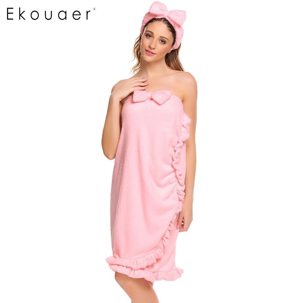 ac77fc3605 Detail Feedback Questions about Ekouaer Women Strapless Solid Fleece Robe  Sleepwear Wrap Vintage Nightdress Bathrobe With Head wear Spa Robes Female  ...