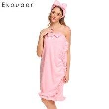 Ekouaer las mujeres dama de traje de lana de ropa de dormir abrigo Vintage Albornoz Camisón con la cabeza-Usar batas de Spa mujer Pijamas