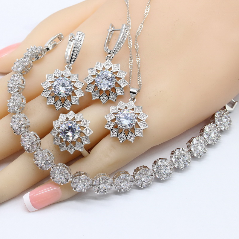 Bridal-Jewelry-Sets Rings-Bracelets Necklace Pendant Earrings 925-Silver Zirconia Women