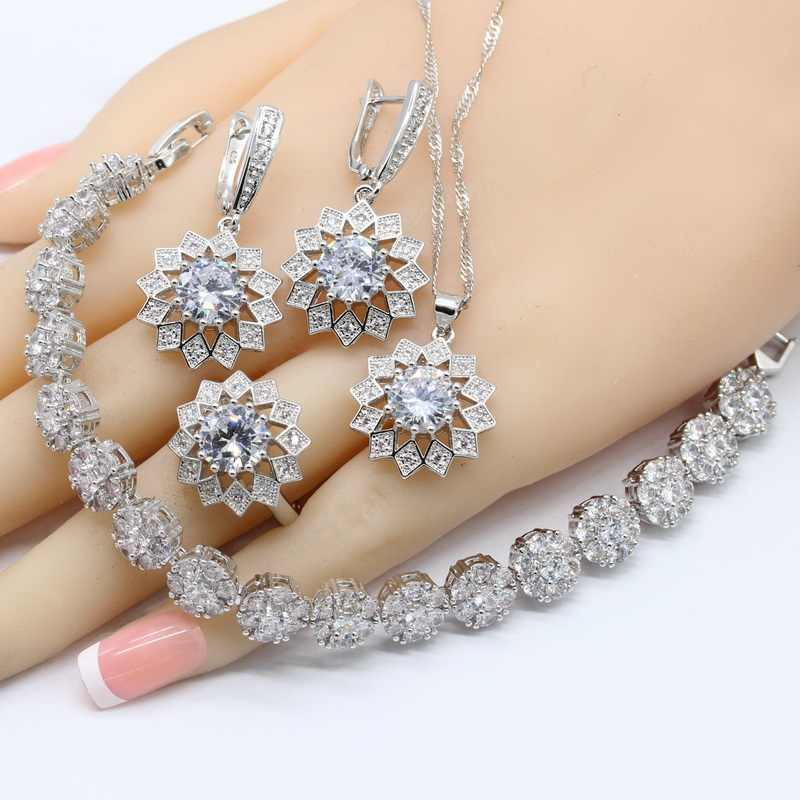 2019 Hotting White Zirconia 925 Silver Bridal Jewelry Sets For Women Necklace Pendant Earrings Rings Bracelets