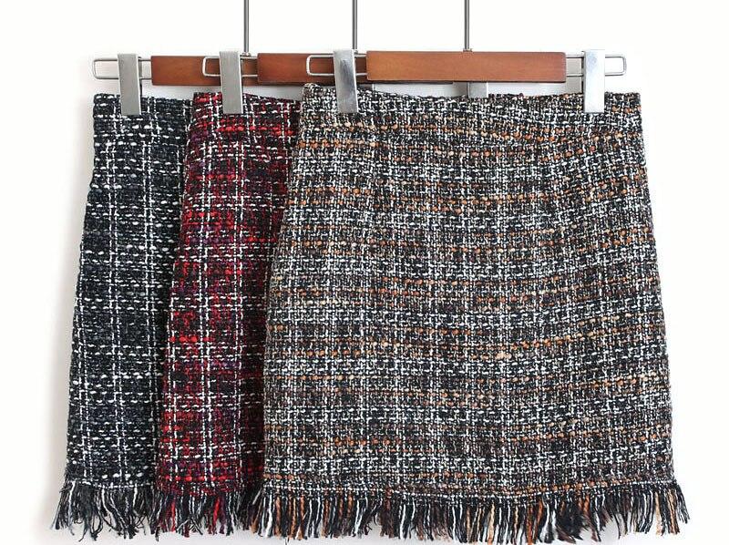 Colorfaith Women Woolen Mini Skirt Autumn Winter Vintage Straight Plaid Tassel Skater Skirt High Waist Femininas Sk5583 #4