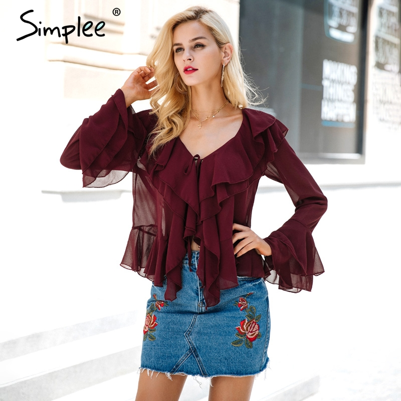 Simplee Sexy ruffle chiffon blouse shirt Autumn flare sleeve deep v neck women b