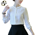 Blouse Shirt Cotton And Linen Long Sleeve 2016 Autumn Fashion Korean Style White Shirts Lace Patchwork Women Tops Basic Clothing