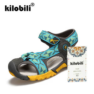 08e30024fa34 kilobili 2018 Brand Summer Beach Sandals Kids Sandals boys Leather Summer  Shoes Casual Sport Sandals For Boys for 4-14years Blue