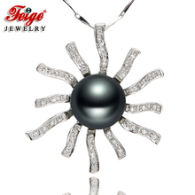 Flower-shaped Genuine 925 Silver Big Pendant Necklaces For Womens 10-11mm Black Freshwater Pearls Fine Jewelry By FEIGE