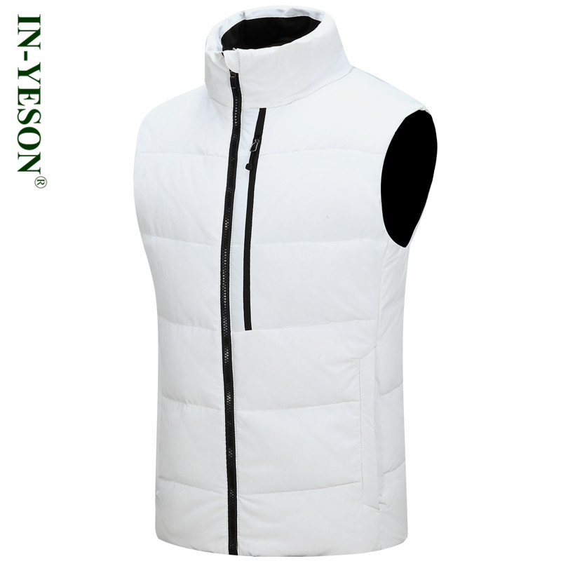 New Arrival IN-YESON Ultra Light   Down   Vest Men High Quality Stand Collar Zipper Thermal White Duck   Down   Jacket Mens Winter   Coat