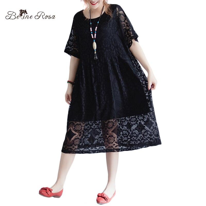 cf1799378d1a BelineRosa Women s Lace Dresses Casual Plus Size Women Clothing Pure Color  Black   Wine Red Short Sleeve Loose Dress HS000540