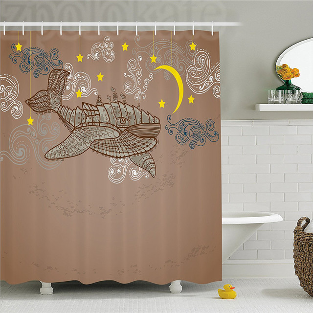 Whale Decor Shower Curtain Steampunk Flying On Air With Moons And Stars Artistic Hand Drawing Bathroom Set Hook