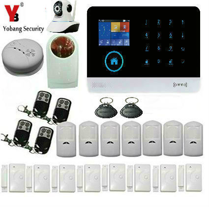 YobangSecurity Wifi Alarm System GSM RFID Wireless Home Burglar Security System With Outdoor Flashing Siren Indoor IP Camera yobangsecurity home gsm pstn alarm system 433mhz voice prompt lcd keyboard wireless alarma gsm with outdoor siren flash