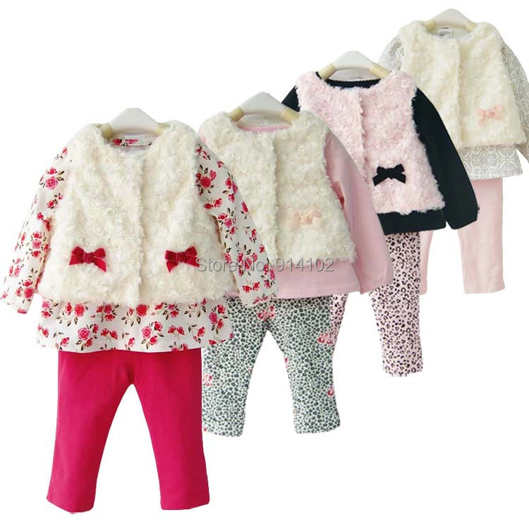 Newborn Baby Girl Clothes Set Piece Faux Fur Vest Shirt