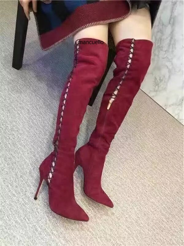 Glamorous Burgundy Suede Rope Cross Strap Long Booties Women Fancy Cut-out Stiletto Heel Pointed Toe Over The Keen High Boots trendy buckle style cut out thin heel sandal booties sexy pointy stiletto heel ankle boots elegant women burgundy suede booties