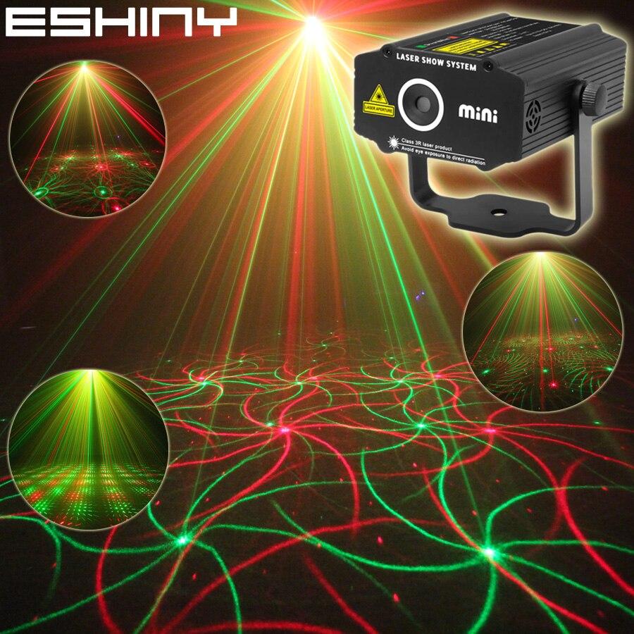 ESHINY Mini 4in1 Efeito Padrão R & G Estrela De Áudio Whirlwind Projetor Laser Stage Disco DJ Club Bar KTV Família party Light Show P14