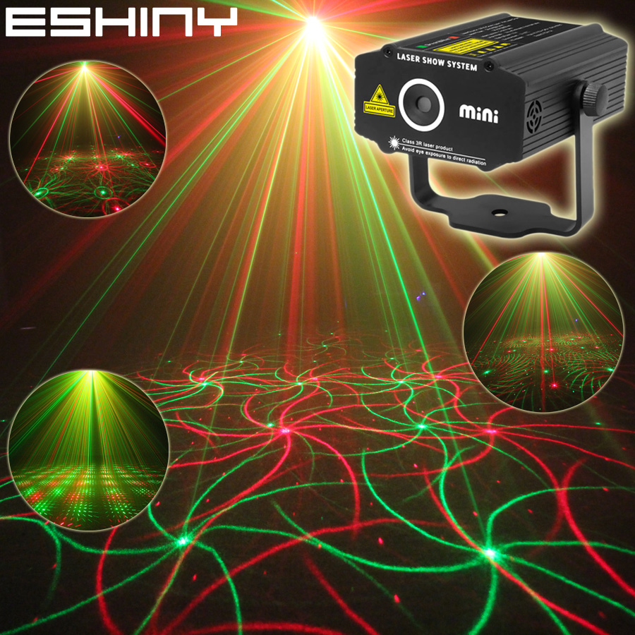 ESHINY Mini 4in1 vzorec R&G Audio Star vrtinec laserski projektor Scena Disco DJ Club Bar KTV Family Party Light Show P14