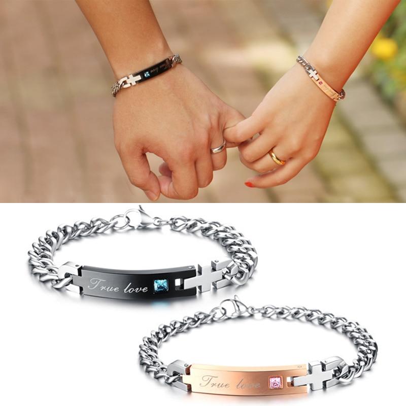 5f81cc6dd786 Moda 1 unid verdadero amor pulseras de pareja pulseras de acero inoxidable  para amante de la joyería Tanabata regalos personalizados en Cadena y del  ...