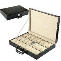 24 슬롯 시계 스토리지 박스 블랙 컬러 pu 가죽 시계 케이스 남자 시계 새로운 브랜드 시계 디스플레이 선물 가방