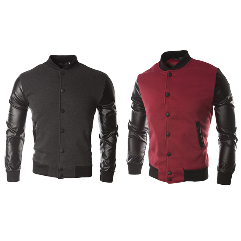 Casual Tops Men's Leather Jacket 1pcs Men's Baseball Uniform Long Sleeves
