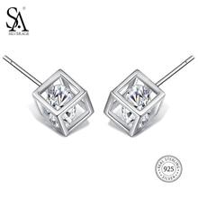 Sa silverage Настоящее стерлингового серебра 925 площадь серьги стержня для женщин Fine Jewelry Классический горный хрусталь Серебряные серьги комплект